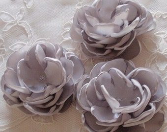 3 Handmade Singed Flower Fabric Flower Fabric Rose (2.5 inches) In Lt Gray  MY-646-02 Ready To Ship