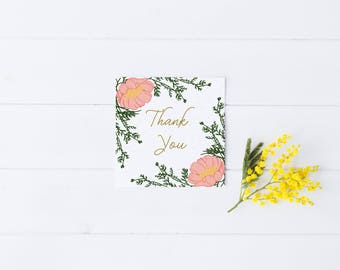Thank You Card Flowers Greeting Simple Modern