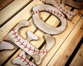 Baseball Decor-Baseball Letters-Baby Boy Nursery Decor-Wood Letters-Wall Letters for Nursery-Wall Decor-Boys Room Decor