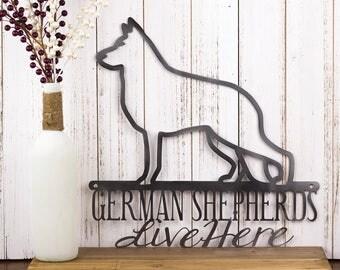 "German Shepherd Metal Wall Art   German Shepherd Sign   Metal Sign   Dog Sign   Outdoor Sign   Wall Hanging   Gift   Sign   16""W x 16""H"