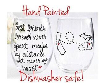 Long Distance Relationship gift, Best Friends Gift, Long Distance relationship, Going Away Gift, Moving Away, Graduation, Hand Painted Wine