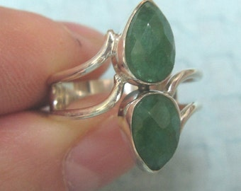 Double Emerald Sterling Silver Ring Size 7 1/2