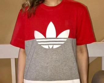 Vintage 90s adidas oversized color block t-shirt guys medium ladies small, medium, large
