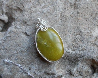 Jade wire wrapped necklace sterling silver