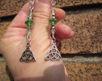 CELTIC KNOT charm w. AB Green faceted Swarovski crystal beads & star spacer Earrings.