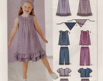 An A-Line Dress/Tunic, Capri Pants, Shorts, Crop Top/Jacket & Scarf Sewing Pattern for Children: Uncut - Sizes 3-4-5-6-7-8 ~ Simplicity 5636