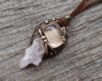 SHIPPING INCLUDED Pink Kunzite and Rose Quartz  Pendant
