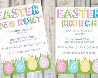 EASTER PARTY INVITATION, Easter Egg Hunt, Easter Brunch, Spring Party, Easter Party Invite, Easter, Printable, Customized, Digital Print