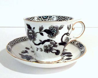 Vintage Royal Tuscan Cup Saucer Black White Turquoise  Blue Accents Floral Motif Tree Bug Honeycomb Design Gold Rimmed Replacement China