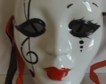 "Mardi Gras Theater Mask, Porcelain  Ceramic, Multi-Color 6 1/2 "" x 5"" CL25-11"