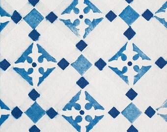 Handmade Cyanotype - Tarifa Tile