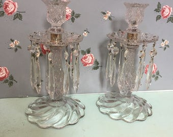 Antique Set of Leaded Crystal Candelabras - Vintage Glass Candle Holders with Crystals - Antique Romantic Candle Holders Candelabra