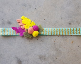 Felt feather headband // felt flower headband // feather headband // teal headband // boho feather band