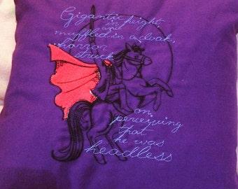 Home Decor ~ Decorative pillow ~ Throw Pillow ~ Headless Horseman pillow ~ Embroidered Pillow ~ Purple Cushion ~ New Home Gift