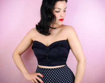 Navy Blue Classic 1950's Bustier Top