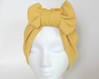 Yellow Bow Turban, Yellow Turban Headband,