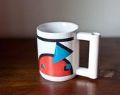 80s tooth brush mug, 80s mug, bathroom mug, vintage toothbrush cup, vintage mug, geometric shape mug, gift mug, 80s bathroom, blue red mug