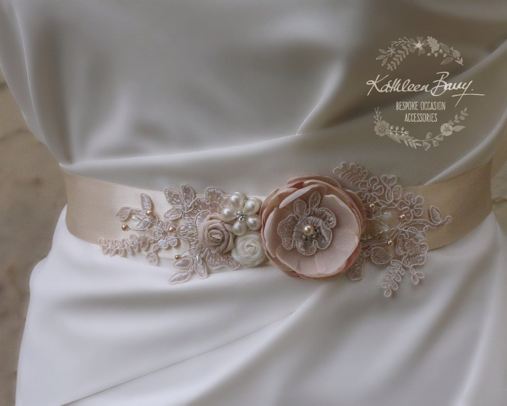 Unique Wedding Dress Sashes Belts: Blush Ivory Wedding Dress Sash Bridal Belt Floral With Lace