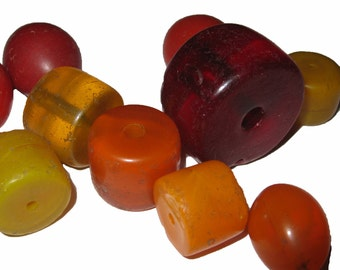 10 Mixed Bohemian Glass Beads from Ethiopia , the African Trade