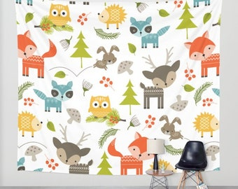 Animals Tapestry, Childrens Tapestry, Nursery Tapestry, Kids Tapestry, Woodland Animals, Childs Tapestry, Baby Room, Wall Hanging, Deer, Fox