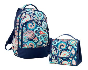 Backpack WITH  Matching Lunch Bag and Gym Bag in Emerson Paisley design.  Perfect Gift.  Personalized FOR FREE just for you.