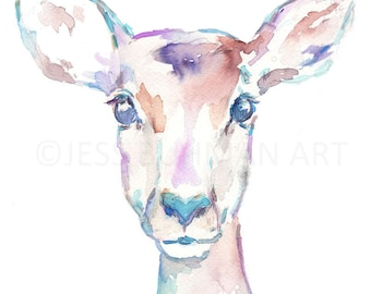 Impala Watercolor Painting Print, Deer Watercolor Painting, Flowers Watercolor, Antlers Painting, Nursery Art, Nursery Watercolor, Deer Art