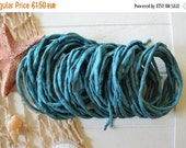 SALE Petrol Silk Cord hand dyed silk string for necklace bracelets 2mm
