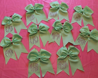 10 Party Favor Hair Bows - Cheer Bows Set with Custom glitter Monograms on each - Girls hair bows - Birthday Party Bow