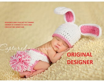 Baby Girl Bunny Hat ORIGINAL DESIGNER Too Cute Newborn Baby Boy or Girl Crochet Bunny Hat/Diaper Cover More Colors Easter Set