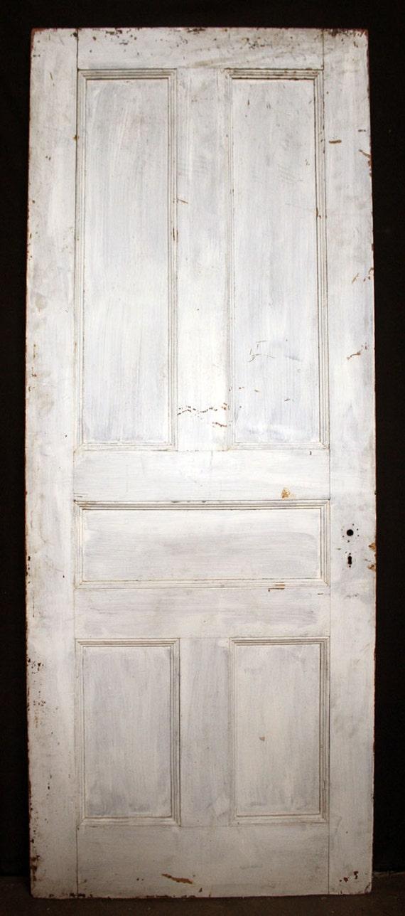 32 X81 Antique Vintage Victorian Solid Wood Wooden Interior Door 5 Flat Panels From