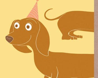 Party Sausage dachshund birthday card