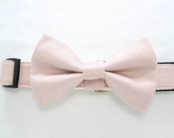 Wedding dog collar-Blush Dog Collar ,Petal Dog Collar with bow tie set  (Mini,X-Small,Small,Medium ,Large or X-Large Size)- Adjustable