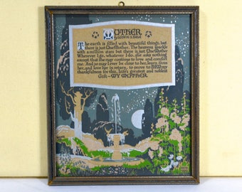 "Buzza Motto ""Mother"" by Ludvig S. Dale, 1923 Art Deco Print, Maternal Love, Blue Green and Silver, Silvery Wood Frame, Art by Kaiser"