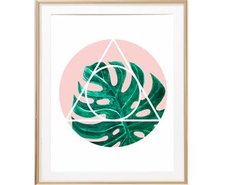 Monstera Leaf Watercolor Art, Tropical Plants Print, Sacred Geometry Wall Decor, Plants Botanical Poster Monstera Deliciosa Wall Art