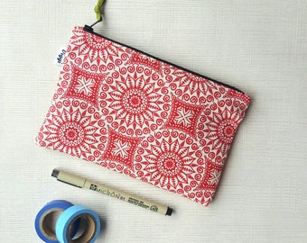 Red Pen Case, Makeup Pouch Romantic, Pencil Case For Her, Vegan Zipper Pouch