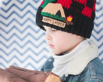 Happy Camper Hat/ Happy Camper Shirt/ Happy Camper/ Boys winter hat/ Crocheted Hat/ Crocheted Winter Hat/ Boys Hat/ Camper Hat/