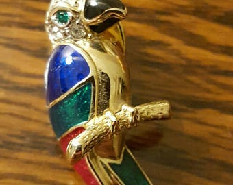 Vintage 1980s Parrot enamel and glass Brooch  (4722)