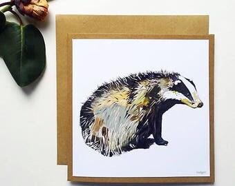 Badger - Greetings Card - Handmade - Illustration - Art - Design - Nature - Wildlife - Gift