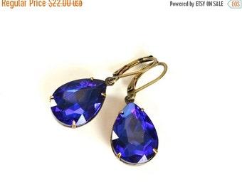 20% OFF Sale Vintage Sapphire Earrings, Large Rhinestone Earrings, December Birthstone