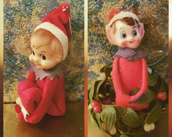 Set Of Two Vintage Flocked Christmas Elf Ornaments