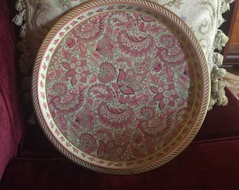 Shabby Chic Paisley Pink Metal Tray
