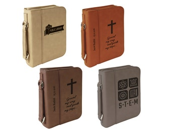 Laser Engraved Leather Bible Cover.  Choice of Image, Font and Wording.  2 Sizes