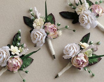 Paper Flower Boutonniere - Dusty pink and white - Made of mulberry paper - Customizable