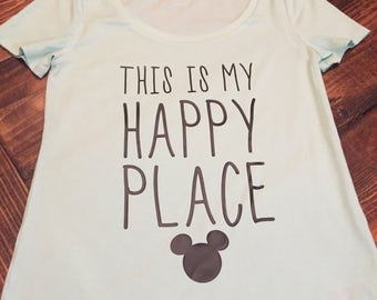 "ADULT-Disney ""This is my happy place"" Mickey shirt"