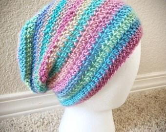 Soft Pastel Rainbow Slouchy Hat
