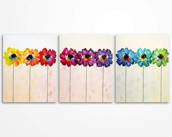 Flowers in a row Modern Colorful Art  Bright Rainbow Flowers Palette Knife Abstract Painting on Canvas- Triptych -  MADE TO ORDER
