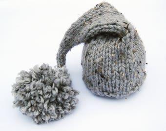Gray Tweed Baby Elf Baby Hat /  Newborn Photo Prop / Size 0-12 months / Hand Knit Photography Prop Neutral Boy