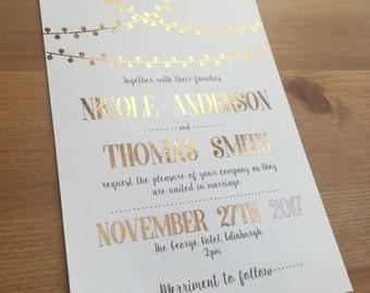 Gold or Copper Foil Wedding Invitation   Modern Fairy Light Design