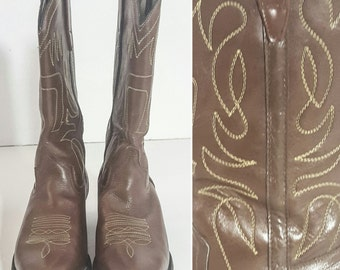 90s 90s Boots Vintage BOOTS COWBOY Boots LEATHER Boots Mens Boots Boots Men Boots 10.5 Western Boots Shoes Brown Boots Brown Leather Boots