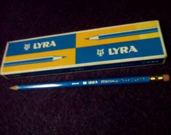 Vintage Lyra pencils 12 pencils original box new Germany one dozen Lyra 2 blue turquoise vintage new